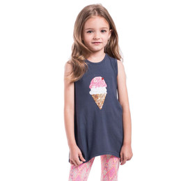 Imoga Beth Ice Cream Cone Asymmetric Knit Tunic - Navy