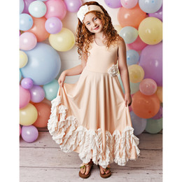 Serendipity Clothing  Peach Sorbet 3pc Maxi Dress w/Rosette Clip & Headband