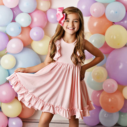Serendipity Clothing  Bella Ruffle Dress - Pink