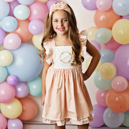 Serendipity Clothing  Peach Sorbet 2pc Pinafore Dress & Headband