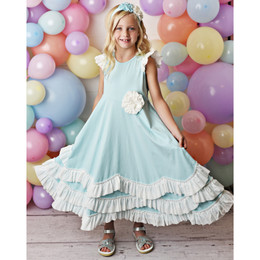 Serendipity Clothing  Cotton Candy 3pc Maxi Dress w/Rosette Clip & Headband