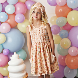 Serendipity Clothing  Peach Sorbet 3pc Floral Ruffle Pocket Dress, Stripe Shortie, & Headband