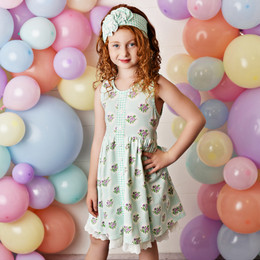 Serendipity Clothing  Mint Fields 3pc Pocket Dress, Floral Shortie, & Headband