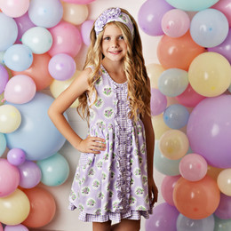 Serendipity Clothing  Lavender Fields 3pc Pocket Dress, Floral Shortie, & Headband