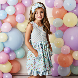 Serendipity Clothing  Enchanted Meadows 3pc Pocket Dress, Stripe Shortie, & Headband