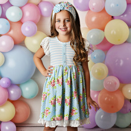 Serendipity Clothing  Enchanted Meadows 3pc Lace Trim Dress, Stripe Shortie, & Headband