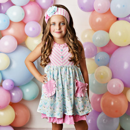 Serendipity Clothing  Cotton Candy 3pc Pocket Dress, Stripe Shortie, & Headband