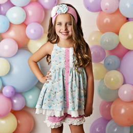 Serendipity Clothing  Cotton Candy 3pc Tunic, Dot Shortie, & Headband