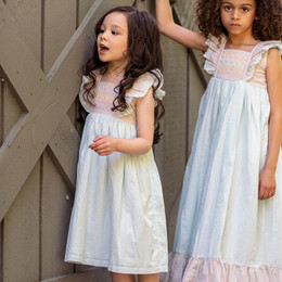 Little Prim  Castles In The Sand Millie Dress - Sky Blue Bisque