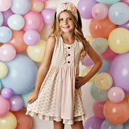 Swoon Baby by Serendipity  Blush Petal Prim Tier Pocket Dress