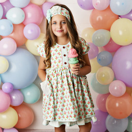 Swoon Baby by Serendipity  Watercolor Rose Poppy Pocket Dress