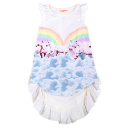 Paper Wings  Frilled Bustle Dress - Rainbow Horses