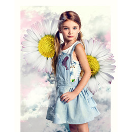 Paper Wings  Denim Embroidered Butterfly Bustle Overall - Faded Indigo