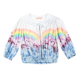 Paper Wings  Shirred Peasant Top - Rainbow Horses