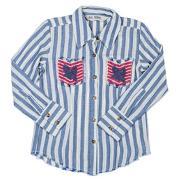Jak & Peppar   Wild World Wild Sky Button Down - Navy Stripe