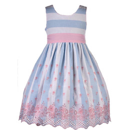 Cotton Kids Spring Stripe Eyelet Dress