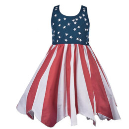 Cotton Kids Red, White, & Blue Stars & Stripes Dress