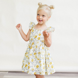 Lali Kids The Botanist's Daughter Pinafore Dress - Mustard Flowers