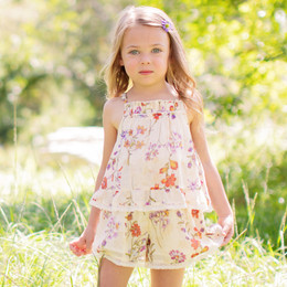 Mimi & Maggie Botanical Flowers Layered Romper