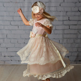 Frilly Frocks Julianna Rose Lace Tiered Dress