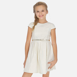 Mayoral   Shimmery Linen Dress w/Metallic Belt - Champagne