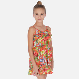 Mayoral   Tropical Flower Ruffled Sundress - Persimmon