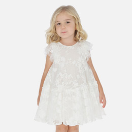 Mayoral   Embroidered Flower Tulle Overlay Dress - Natural