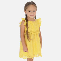 Mayoral   Embroidered Flower Layered Dress - Yellow