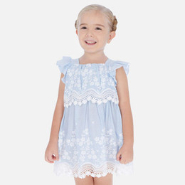 Mayoral   Embroidered Flower Layered Dress - Blue Stripe