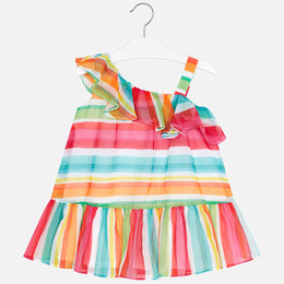 Mayoral   Striped Asymmetric Flounce Dress - Watermelon Stripe