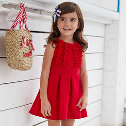 Mayoral   Ruffle Ribbed Knit Pleated Dress - Red