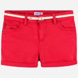 Mayoral   Cuffed Twill Shorts w/Rope Belt - Watermelon