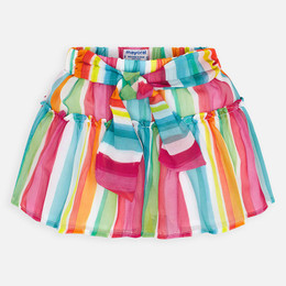 Mayoral   Striped Overlay Skort w/Sash - Watermelon Stripe