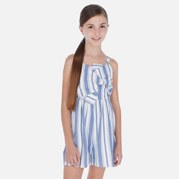 Mayoral   Striped Linen Front Twist Romper - Blue Stripes