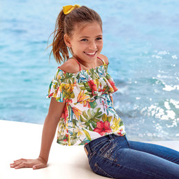 Mayoral   Tropical Flower Off Shoulder Ruffled Blouse - Persimmon
