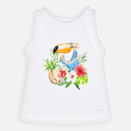 Mayoral   Sequined Toucan Tank - White