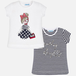 Mayoral   Life Is Beautiful & Beaded Lovely Day S/S Tees - White & Navy (2 pack!)