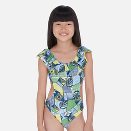 Mayoral   Ruffled Cut-Out 1pc Swimsuit - Indigo