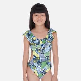 Mayoral   Ruffled Cut-Out 1pc Swimsuit - Indigo