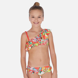 Mayoral   Tropical Flower Ruffled 2pc Bikini Swimsuit - Persimmon