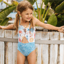 Pink Chicken Carrie Cut-Out Swimsuit - Multi Sea Creatures