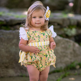 Mustard Pie   Lemon Drop 2pc Imogen Romper & Hair Clip