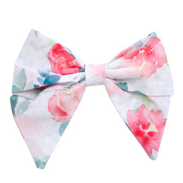 Be Girl Clothing  Classic Bow - White & Pink Floral