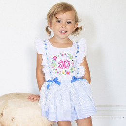 Be Girl Clothing    Abby Floral Wreath Lace Overlay Skirted Romper (*monogram not included*)