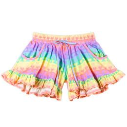 Paper Wings    Frilled Jersey Shorts - Rainbow Heart Stripe