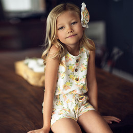 Mustard Pie  Honey Blossom 2pc Dahlia Romper & Hair Clip