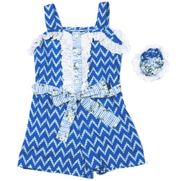 Mustard Pie  Nautical Summer 2pc Lucinda Romper & Hair Clip