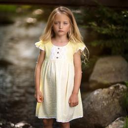 Little Prim     Sun Blossom Adelaide Dress - Sunshine Seersucker