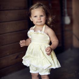 Little Prim     Sun Blossom Sydney 2pc Tunic & Short Set - Sunshine Seersucker