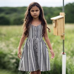 Jak & Peppar    Americana Riley Dress - Charcoal Stripe